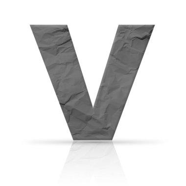 v letter wrinkled red paper