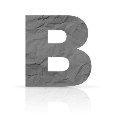 B letter wrinkled red paper
