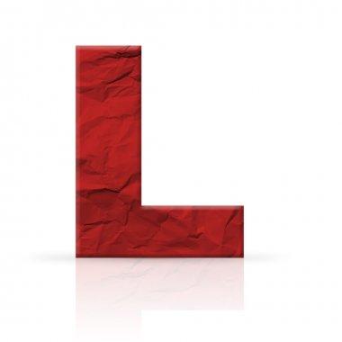 l letter wrinkled red paper