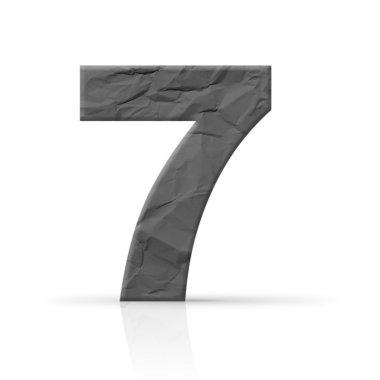 Seven red wrinkled number texture