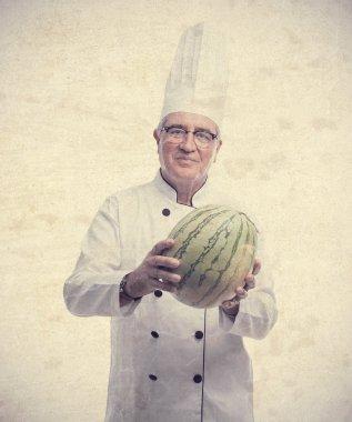 senior cool man with a watermelon