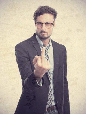 young crazy businessman disagree gesture