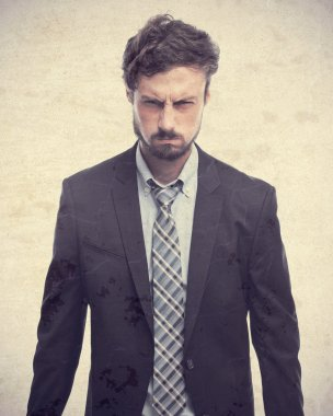 young crazy businessman angry face