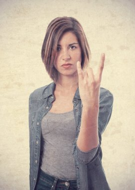 young cool woman disagree gesture