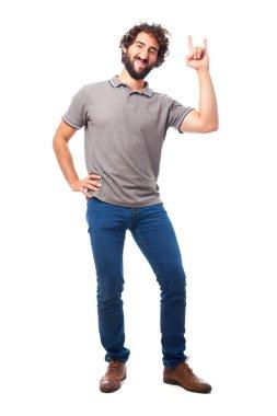 young crazy man disagree gesture