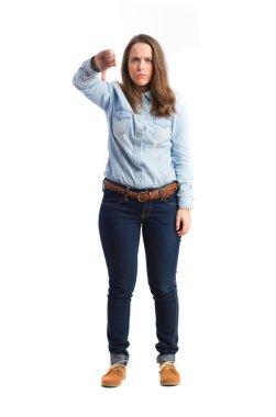 young girl thumb down