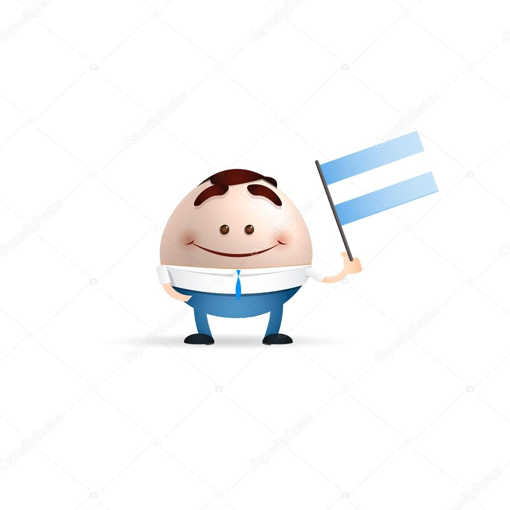 Dibujos Animados Empresario Sosteniendo Una Bandera