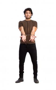 handcuffed Hindu cool young man