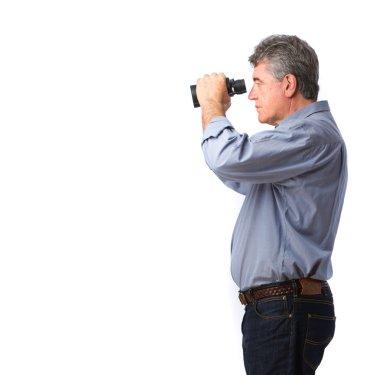 Man holding a binoculars