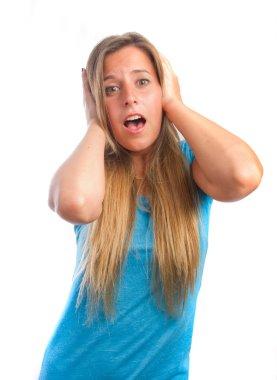 Worried girl shouting