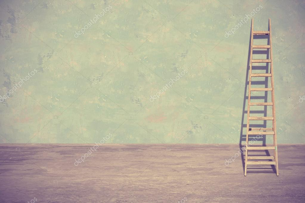 Ladder leaning against a wall