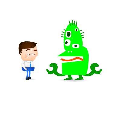 Businessman cartoon indifferent gesture with monster