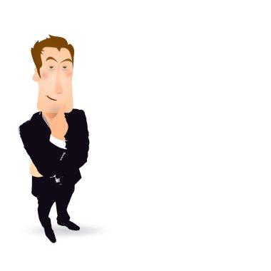 Businessman think gesture clip art vector