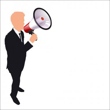 businessman with a megaphone