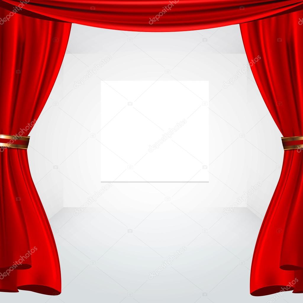 rood gordijn en canvas — Stockvector © kues #66370907