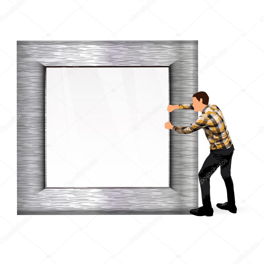 junger Mann mit einem Stahl Fotorahmen — Stockvektor © kues #66371705