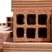 Red Brick Holes Texture Stock Image