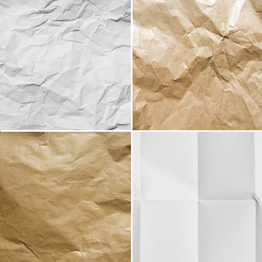 group of different creased papers