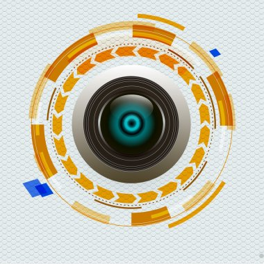 camera lens on abstract design background