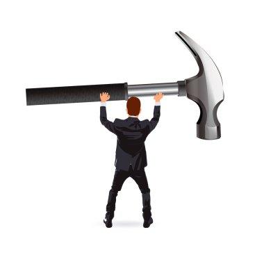 businessman and a hammer