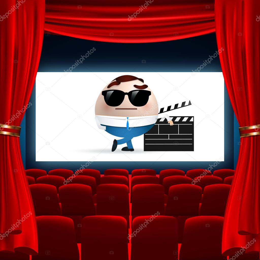 dibujos animados en la pantalla de cine � vector de stock