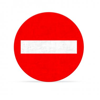 prohibited way road sign