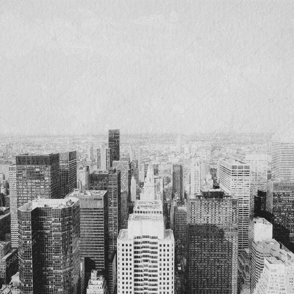 new york skyscrapers hand drawn effect