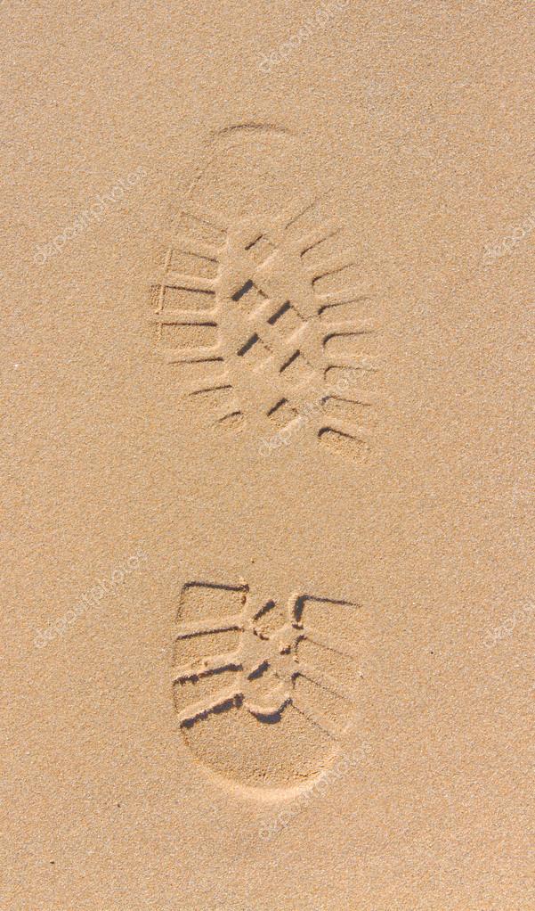 shoe foot print on sand