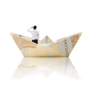 businessman worried into a bill boat