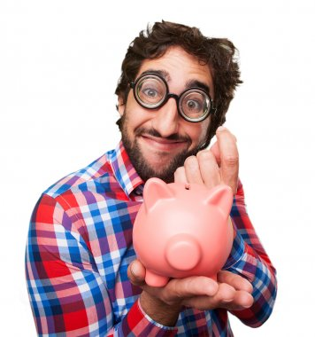 crazy man with a piggy bank