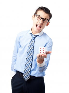 businessman with a dice