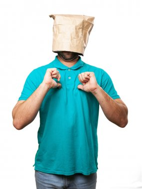 Proud man with a paper bag in his head