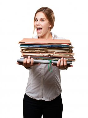 blond woman with files