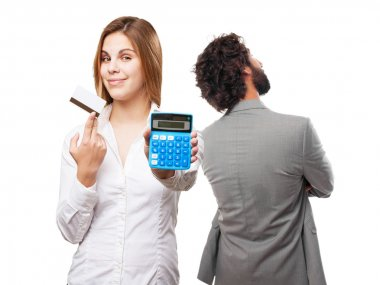 blond woman with calculator and credit card