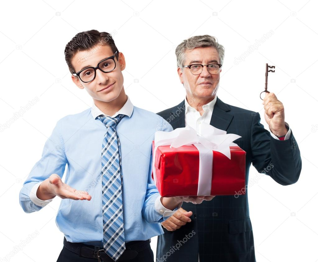 businessman with a gift