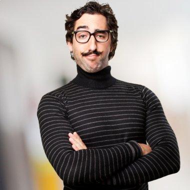 proud hipster man