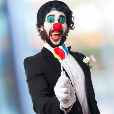 clown with a lolly pop