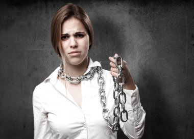 blond woman with chains