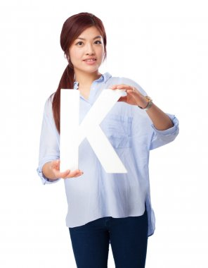happy chinese woman with k letter