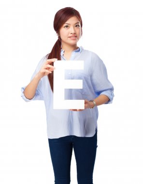 happy chinese woman with e letter