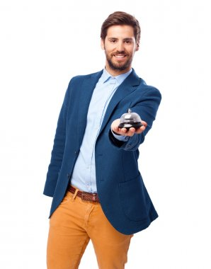 happy businessman with ring bell