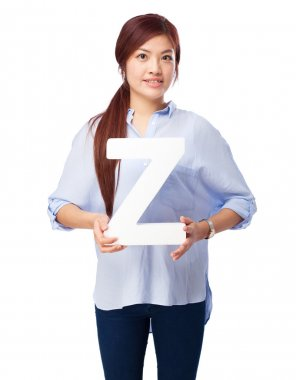 Happy chinese woman with z letter