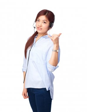 chinese woman calling gesture with telephone