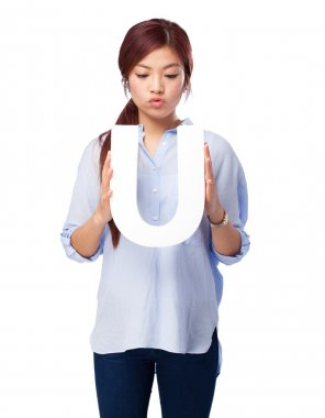 happy chinese woman with u letter