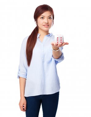 chinese woman celebrating gesture with dice