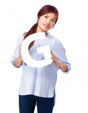 happy chinese woman with g letter
