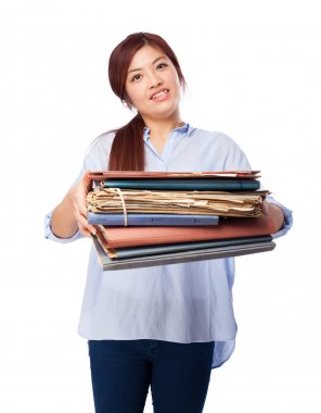 Happy chinese woman with files