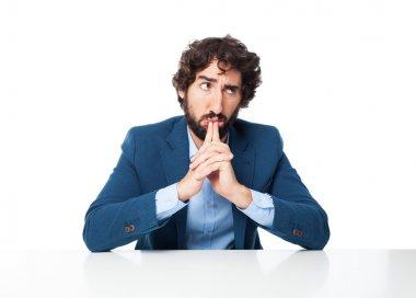 confused businessman doubting