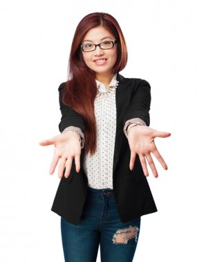 happy chinese woman showing gesture