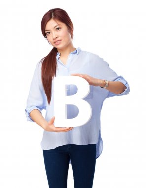 happy chinese woman with b letter